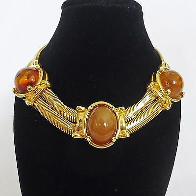 Vintage 1960s Monet Gold Tone Necklace with Imitation Amber Stones Designer USA