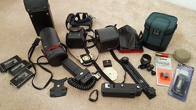 Vintage Camera & Accessories Job Lot lens cases leads winders sigma tamron flash