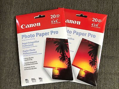 LOT OF 2 Canon Photo Paper Pro for Boarderless Printing 4 x 6 20 Sheets Each