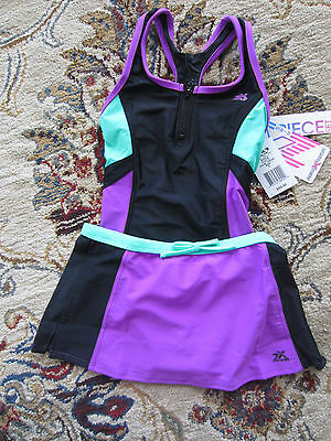 NWT Girls ZeroXposur One Piece Swim Suit Swimsuit & Skirt Set -  7, 8