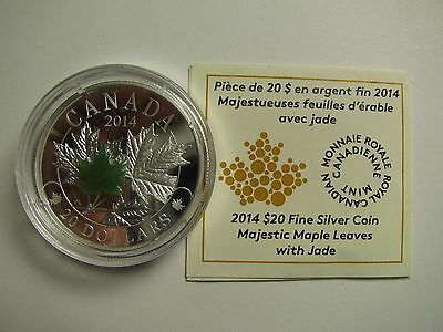 2014 Proof $20 Overlaid Majestic Maple Leaves #3 Jade Insert COIN&COA ONLY Canad