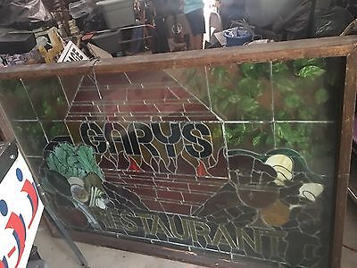 Beautiful Stained Glass And Neon Restaurant Sign Huge Gary's  Wood Framed Bar