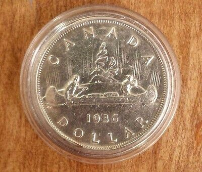 1936 $1 Canada Silver Dollar with Protective Capsule - KEY DATE (AU-50)