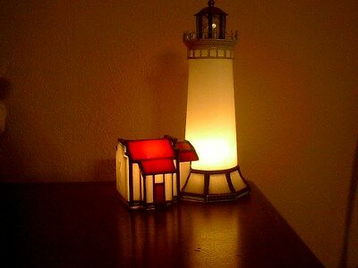 NORTH HEAD WASHINGTON LIGHTHOUSE LAMP STAINED GLASS Forma Vitrum BILL JOB SIGNED