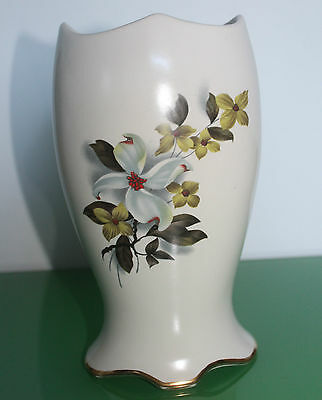 Large Royal Winton Floral Pottery Vase with Scalloped Edge c.1960
