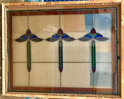 """Huge New Arts And Crafts Style Stained Glass Window Triple Glass - 59"""" L x 45"""" H"""