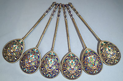 Russian 840 Silver Enamel Large Six Serving Spoons Moscow 1 by G. Klingert C1892