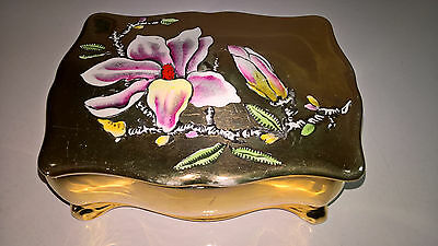 Royal Winton Grimwades Gold Lustre Oriental Lilly / Floral Trinket Candy Box