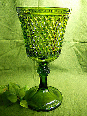 "Vintage Indiana Green Pressed Glass Celery Vase Compote 11"" Tall Diamond Point"
