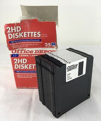 "Box w 16 Office Depot DISKETTES 3.5"" 2HD IBM Formatted Floppy 1.44 MB Hi Density"