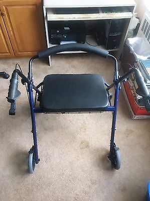 Bariatric Rollator Walker Heavy Duty Brakes Large Padded Seat up to 400 Lb HL450