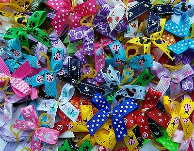 50 Mixed Design Grossgrain Dog Grooming Bows Free P&P