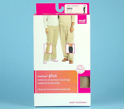 MEDIVEN Plus COMPRESSION STOCKINGS Beige Thigh High Closed Toe Size 11 NEW