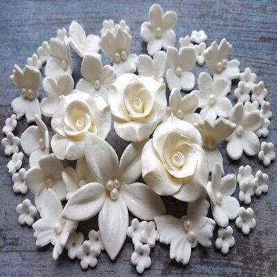 60 EDIBLE SUGAR paste flowers roses cake cupcake toppers decorations white