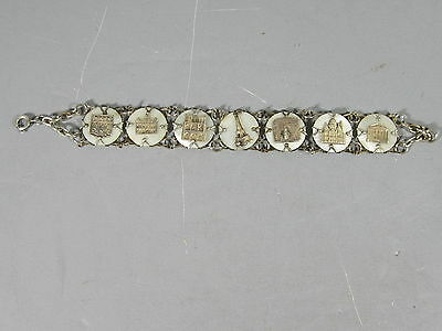 Vintage Mother of Pearl Souvenir Bracelet Featuring Buildings of Paris France