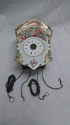 Antiguo Reloj Aleman De Pared Frontal De Porcelana De 25 Cm Para Restaurar