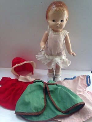 """Vintage Effanbee Stamped Patsy Jr Composition Doll 11"""" + Clothes"""