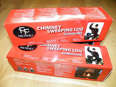 2x KOMINIARZ - CHIMNEY fireplace flue SWEEPER LOG SOOT cleanerRED BOX
