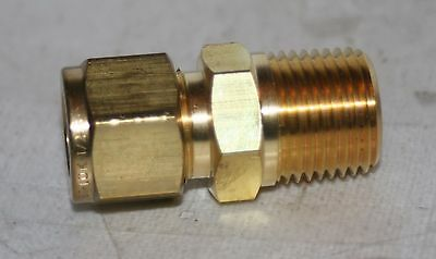 """1/2"""" Tube OD x 1/2"""" Male NPT Brass Connector Fitting Ham-Let Let-Lok 769L"""