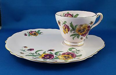 Vintage English Tuscan Bone China Tea Cup & Plate Tennis Set- Pink Pansy Pattern