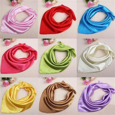 Lady Women Satin Silk Square Plain Scarf Scarves Headband Kerchief Bandana Gift