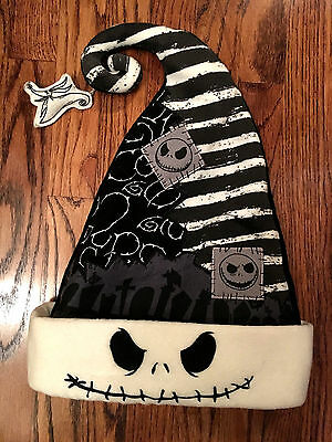 NBC Jack Skellington Zero Santa Hat Disney Parks BLACK Faux Fur