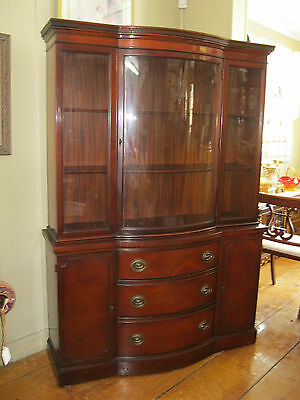 Vintage Mahogany Bow Front China Cabinet Hutch by Drexel - #00375