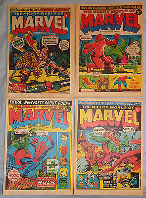 MIGHTY WORLD OF MARVEL UK #13 14 17 18 Four Issue LOT 1972 - 1973 Stan Lee Kirby