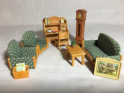 Calico critters/sylvanian families Living Room Furniture With Desk & Clock