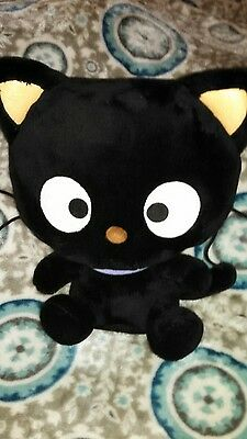 "Chococat Hello Kitty Sanrio 11"" plush Purple Collar Black Cat RARE 2005"