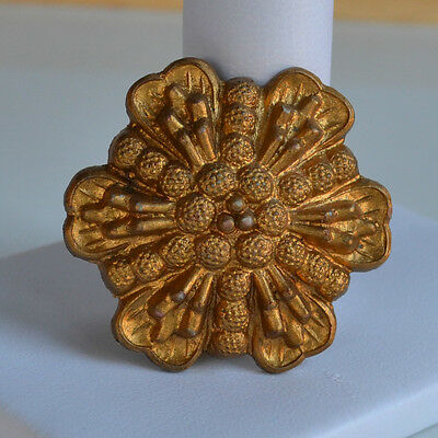 Antique Victorian Plastic flower 3D domed BROOCH PIN gold tone c clasp