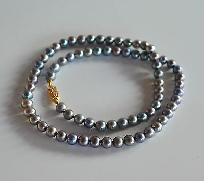 Vintage Genuine Peacock Silver-Blue Pearl Beaded Necklace 14 K Deco Clasp