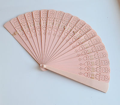 Antique Baby Pink Cut Through Filigree Celluloid Ladies Hand Fan