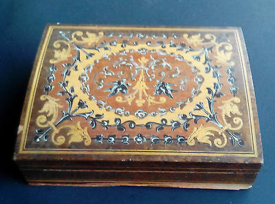 Antique Wood Inlay Box Playing Card Deck Holder Hand Painted Signed Capri