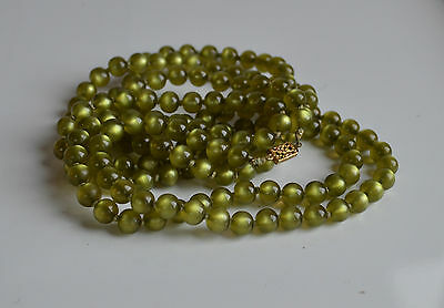 """art deco pea green moonglow lucite hand knotted necklace 54"""" very long vintage"""