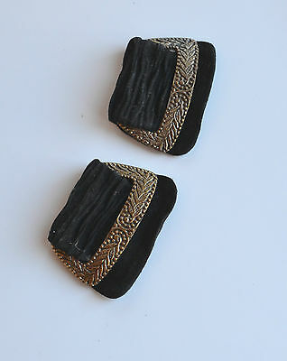 Antique Victorian Shoe Clips Black Suede & Repousse Brass Vintage