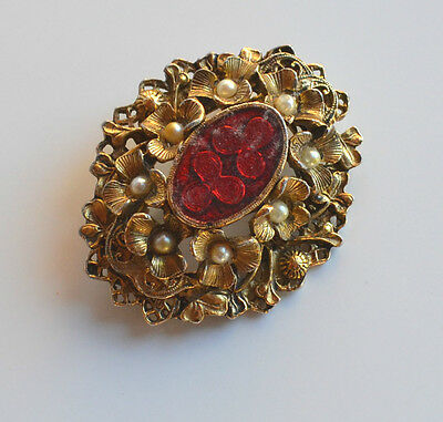 Antique Victorian Brass layered Brooch Pin Faux Pearl Flower & old plastic Cab