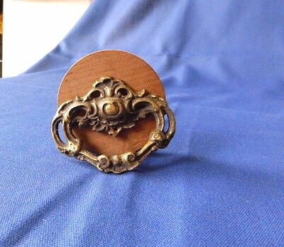 Cute Vintage Antique Cast Brass Drawer Pull Marked H77