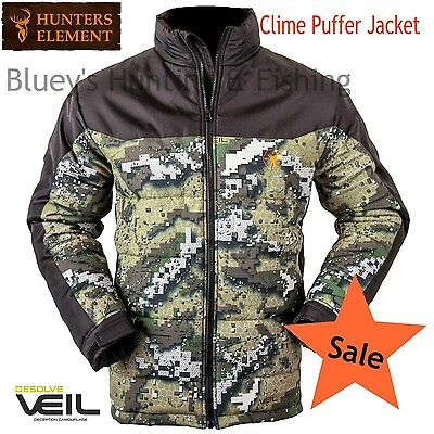 Hunters Element Mens CLIME Hunting Water + Wind resistant Jacket Veil Camo; sale