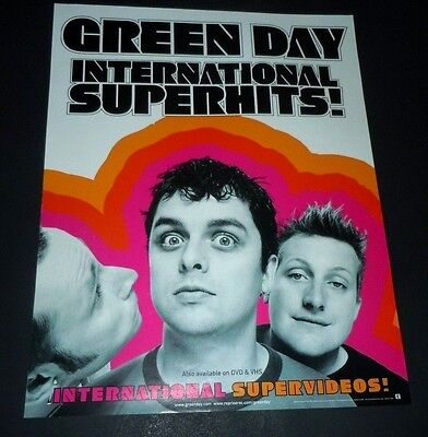 GREEN DAY~International Superhits!~2001 Original Promo Poster~11x14~Excellent
