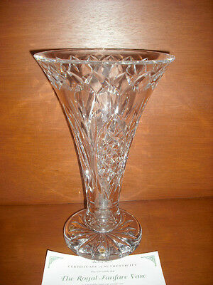 Waterford Crystal Royal Series Vase 'fanfare' W/cert Of Authenticity