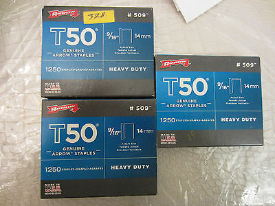 """3 Box of 1250 #509 Arrow Staples 9/16"""" 14mm For T50 Manual & Electric   23 # 328"""
