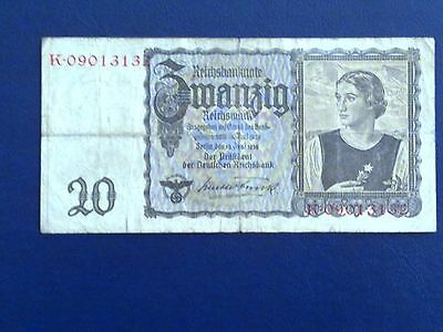 Germany - 20 Mark 1939--World War Ii-Swastica - Fine