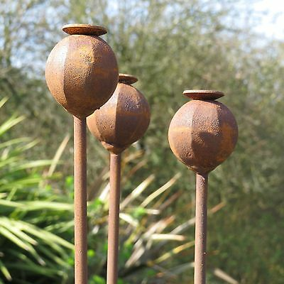 150cm Tall UK Made Poppy Seed Head Border Stakes Plant Support (Set of 3)