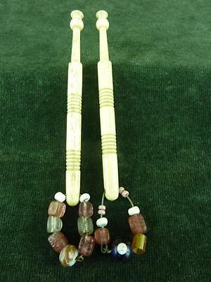 A nice Pair Antique Bovine bone Lace bobbins with spangles #10