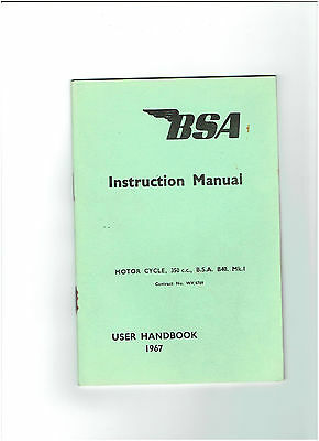 BSA INSTRUCTION MANUAL / HANDBOOK 1967 - 350CC B40 Mk1 MARK 1