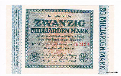 1 x 20 Mrd. Mark UNC Ros.115 b Pick 118 a Germany Inflation