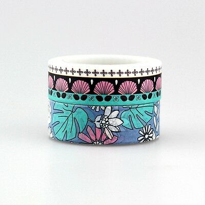 NEW! decorative tropical/ beach/hawaian Patterned DIY Washi Tape Set,15mm*10m