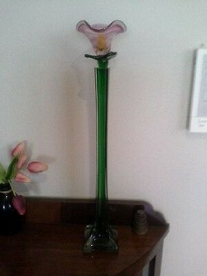 Murano style tall green glass vase with glass lily flower
