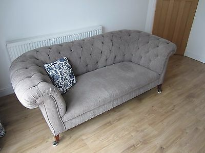 Victorian Chesterfield Sofa professionally reupholstered in light grey